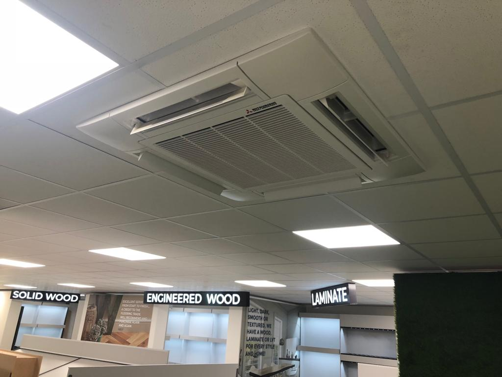 Overhead air conditioning installation
